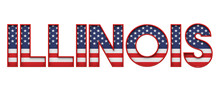 Illinois USA State Made From Starts And Stripes Lettering. 3D Rendering