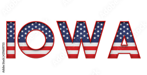 Iowa USA state made from starts and stripes lettering  3D Rendering