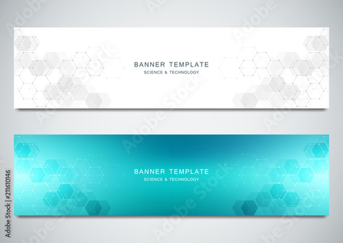 Fototapeta Vector banners for medicine, science and digital technology. Geometric abstract background with hexagons design. Molecular structure and chemical compounds. obraz