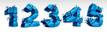 3D Realistic Blue Numbers Set ...