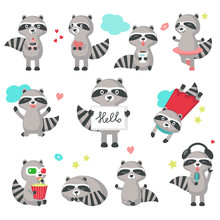 Cute Raccoon Icon Set Vector I...