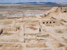 Man Running On Ancient Ruins