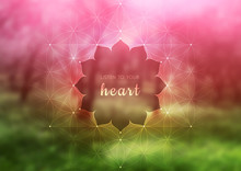 """Vector Template Of Banner With Inspirational Phrase, Horizontal Format; Spiritual Sacred Geometry; """"Flower Of Life"""" And Lotus On Beauty Blurred Background With Forest; Yoga, Meditation And Relax."""