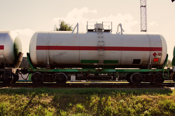 Fototapeta na wymiar railway tank for transportation fuel, railroad tank car