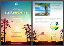 Flyer Template With Sunny Tropical Background - Colorful Sky With Palm Silhouettes For Your Commercial Use, Vector