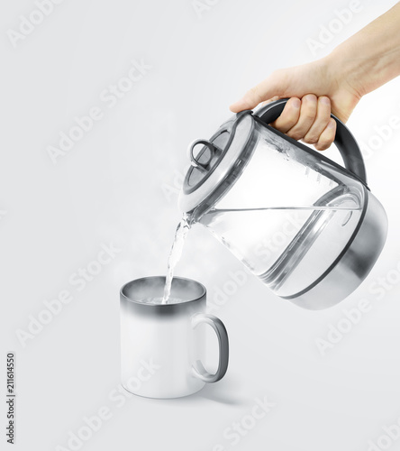 Photo  Blank magic mug filling with boiling water mock up, isolated
