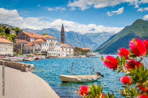 Poster Mediterranean Europe Historic town of Perast at Bay of Kotor in summer, Montenegro