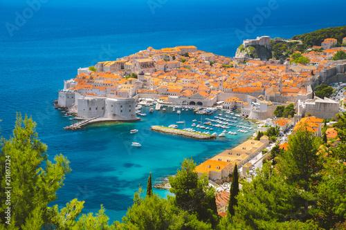 Poster Centraal Europa Old town of Dubrovnik in summer, Dalmatia, Croatia