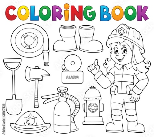 Wall Murals For Kids Coloring book firefighter theme set 1