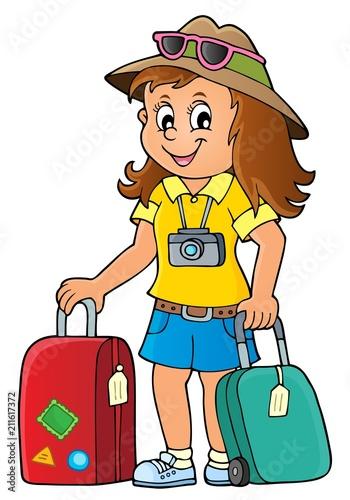In de dag Voor kinderen Tourist woman theme image 1