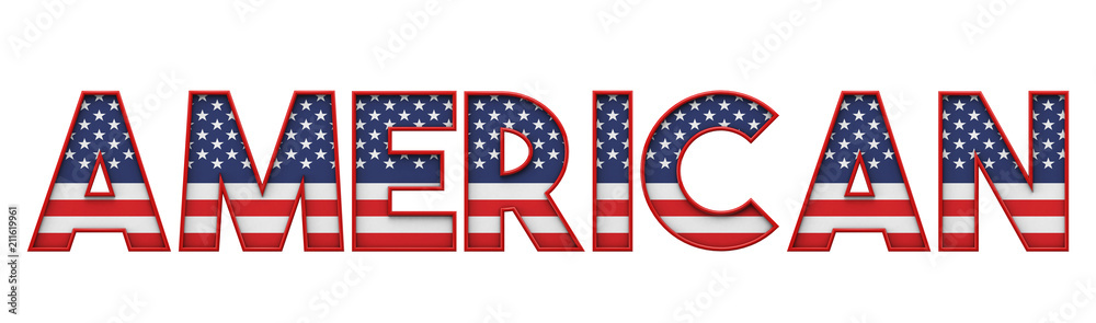 Fototapety, obrazy: American stars and stripes flag font word. 3D Rendering