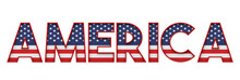 America Stars And Stripes Flag Font Word. 3D Rendering