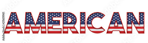 Photo American stars and stripes flag font word. 3D Rendering