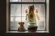 Leinwandbild Motiv Girl with Teddy Bear