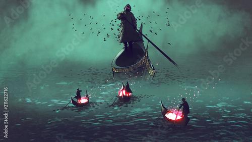 ciemni mężczyźni ze świecącymi duszami na łodzi spotykają ponurego żniwiarza, styl sztuki cyfrowej, malarstwo ilustracyjne
