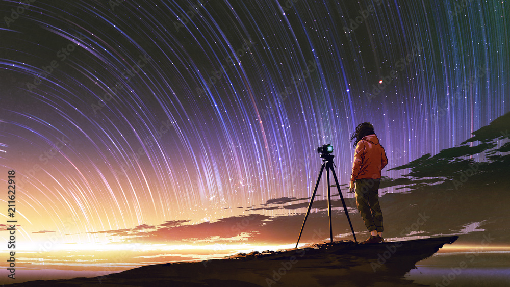 Fototapety, obrazy: young photographer taking picture of sunrise sky with star trails, digital art style, illustration painting