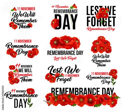 Obraz Remembrance Day red poppy flower icon design - fototapety do salonu
