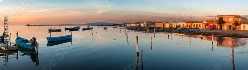 Sardegna, laguna di Marceddì al tramonto, Italy
