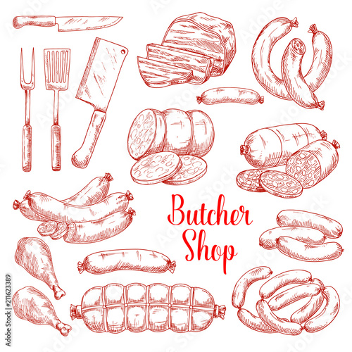 Vector sketch icons of butchery meat products Fototapete