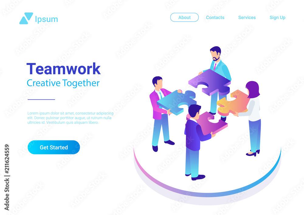 Fototapeta Isometric Flat vector Management Teamwork Business People Puzzle