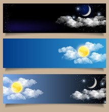 Vector Set Of Day And Night Horizontal Banners
