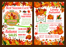 Autumn Pumpkin, Fruit Harvest Sale Vector Poster