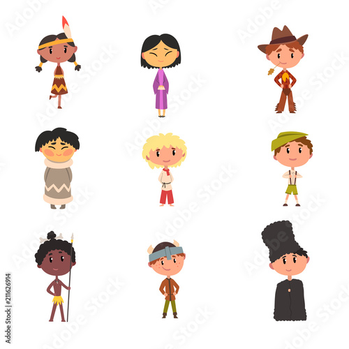 australian cartoon characters kids in national clothes, boys and girls cartoon characters