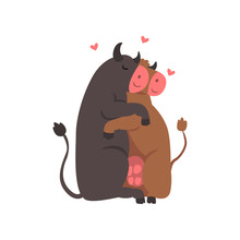 Couple Of Cute Cows In Love Embracing Each Other, Two Happy Aniimals Hugging With Hearts Over Their Head Vector Illustration On A White Background