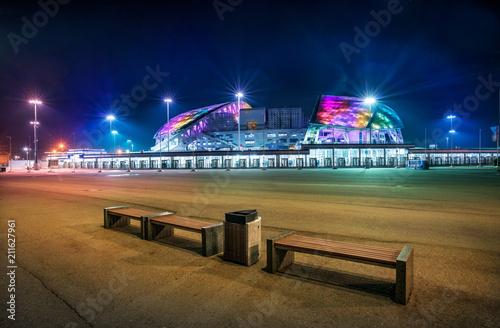 Foto op Aluminium Stadion Стадион Фишт ночью в Сочи Stadium Fisht in Sochi in the night