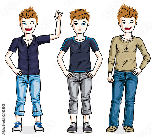 In de dag Kinderkamer Little boys cute children standing in stylish casual clothes. Vector kids illustrations set. Childhood and family lifestyle clip art.