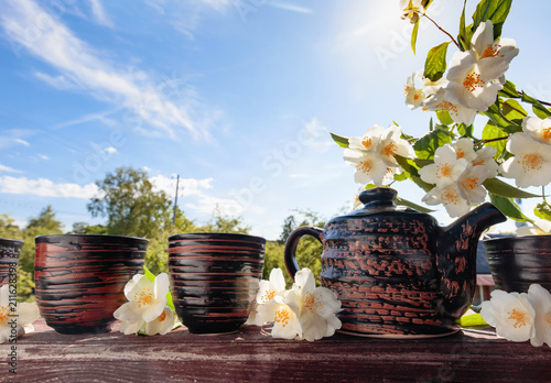 Jasmine tea in small ceramic cups. Wallpaper Mural