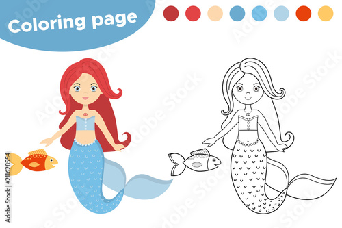Educational game for kids. Coloring page cartoon mermaid with fish ...