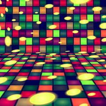 Illustration - Dance House, Room. Dance Floor, Wall, Palette Of Colors. Vector. Green, And Red Base Colors.