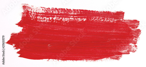 Fotografie, Obraz  Red brush stroke isolated over white background