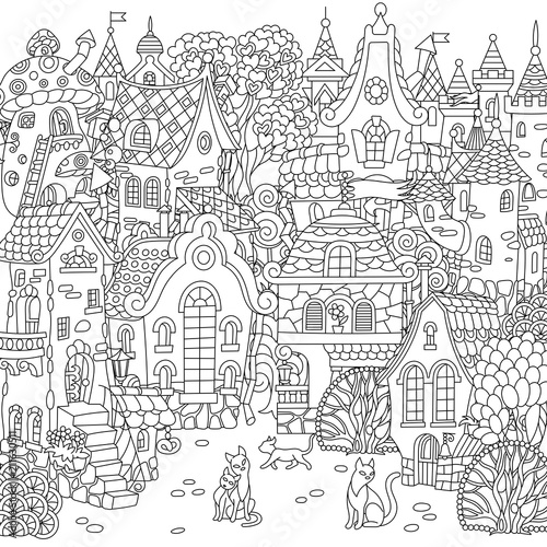 fairy tale town city landscape fantasy cityscape with vintage houses and cats coloring page. Black Bedroom Furniture Sets. Home Design Ideas