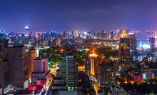 Night Metropolis Cityscape With Lighting Up And Skyline