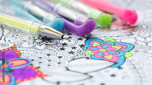 Carta da parati Adult coloring book, new stress relieving trend