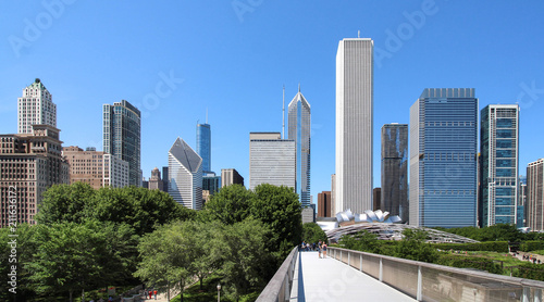 Spoed Foto op Canvas Amerikaanse Plekken USA - Chicago skyline from Art Institute Bridgeway