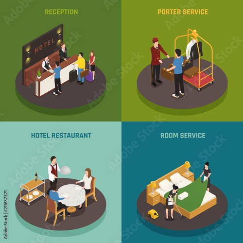 Canvas Prints Textures Hotel Staff Isometric Design Concept