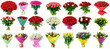 canvas print picture - set of bouquets of roses and tulips, a collection of bouquets of