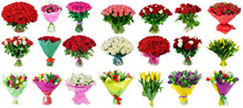 Set Of Bouquets Of Roses And T...