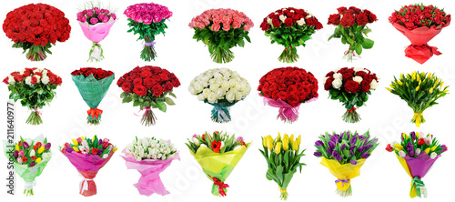 set of bouquets of roses and tulips, a collection of bouquets of