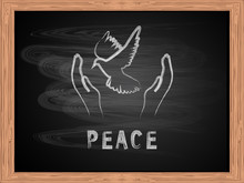 White Chalk Text  Peace And Fl...