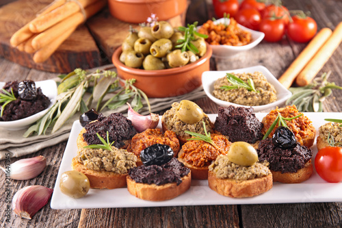 bread toast with tapenade Wallpaper Mural