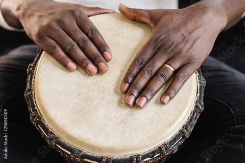 Obraz na plátne Musician Playing Drum.