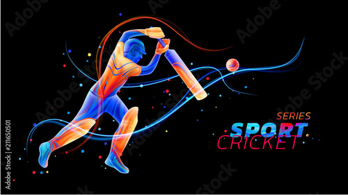 Vector abstract illustration of batsman playing cricket from colored liquid splashes and brush strokes with neon lines and colored dots Fototapeta