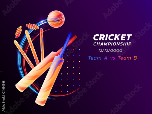 Fotomural Vector abstract illustration of cricket sport from colored liquid splashes and brush strokes with neon lines and colored dots