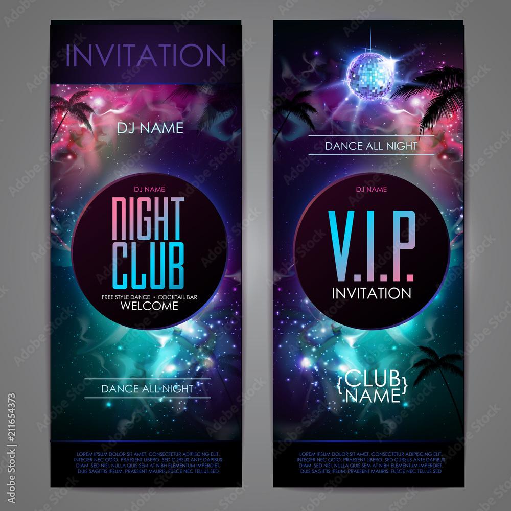 Fototapeta Disco ball background. Disco party poster on open space background. Night club