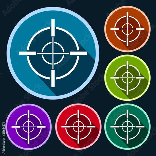 Fotografija target hunt flat icon set