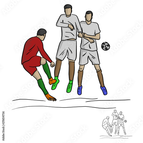 Fotografie, Tablou  male soccer player shooting against the wall vector illustration sketch doodle h